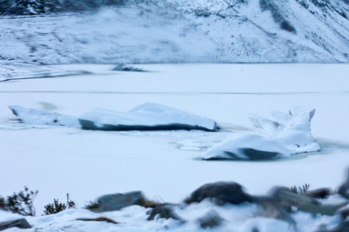 Frozen lake and large chunks of the glacier