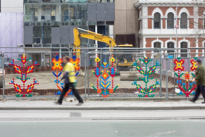 Demolition site made colourful