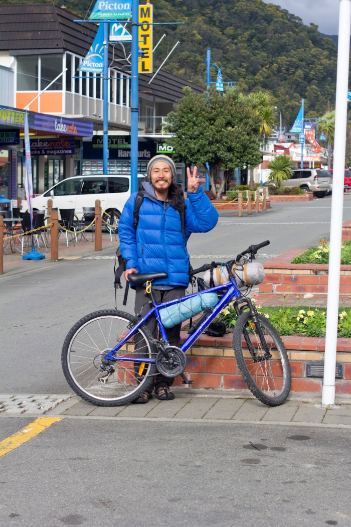 A Korean cycle tourist we passed on the West Coast