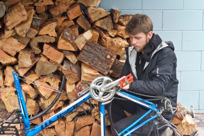 Giving the bikes a good clean down